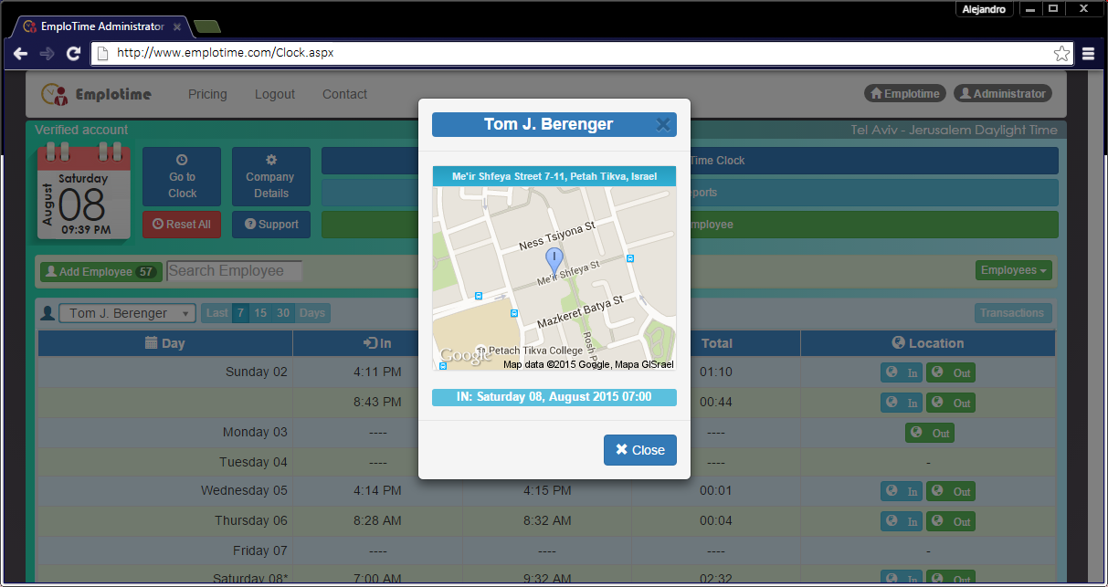 Emplotime also includes a geolocation feature which automatically records employees' clocking location