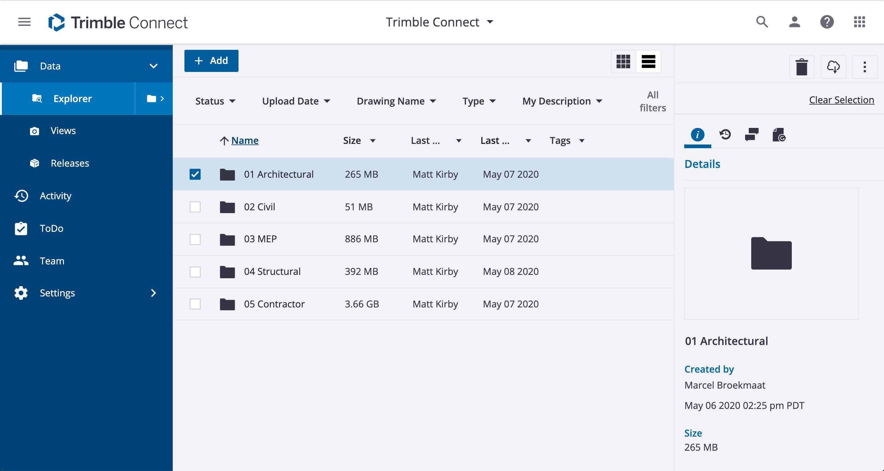 Trimble Connect data explorer