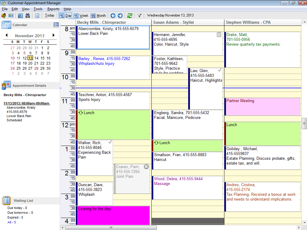 Patient Appointment Manager calendar