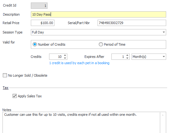 In the daycare module, users can sell prepaid credits to customers