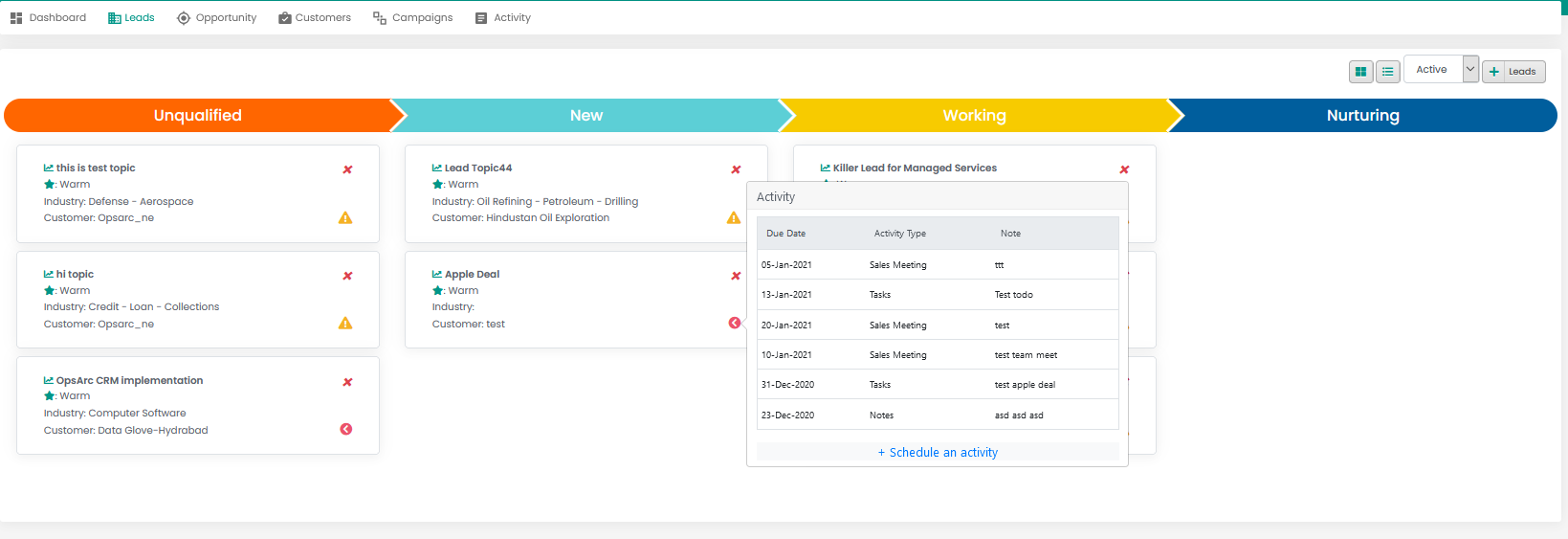 CRM with integrated calendar and email.