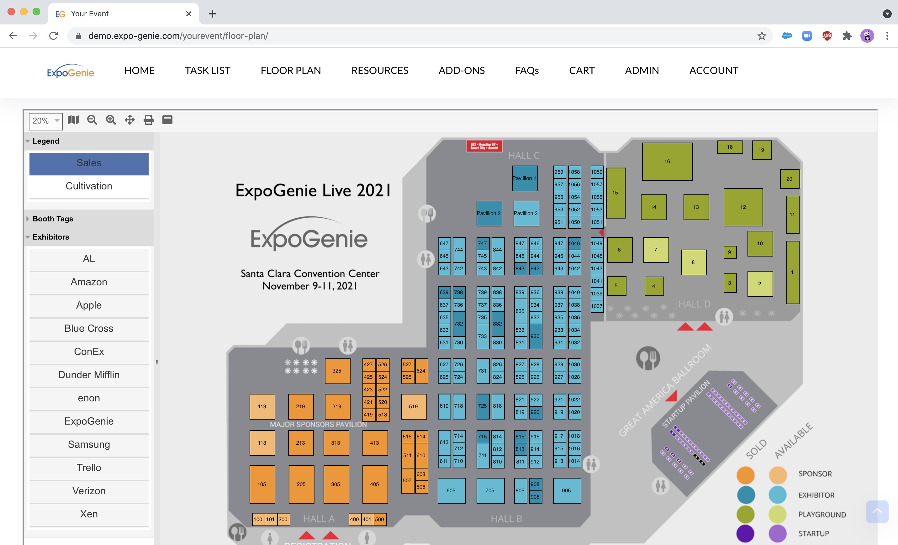 Interactive Floor Plan - Allow exhibitors to easily purchase & choose booths online.