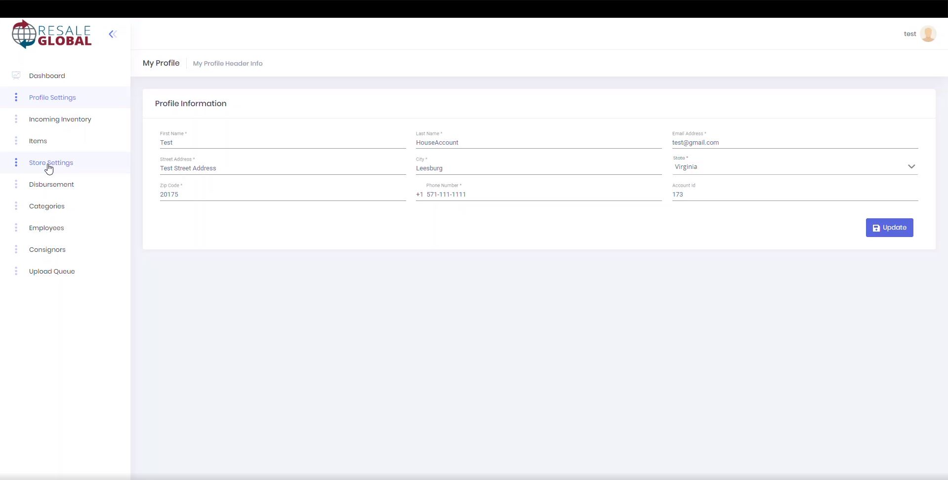 Resale Global profile configuration