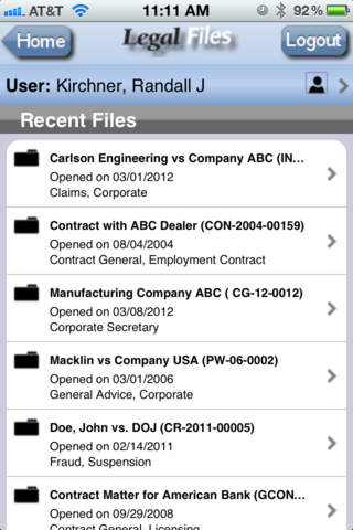 Legal Files recent files
