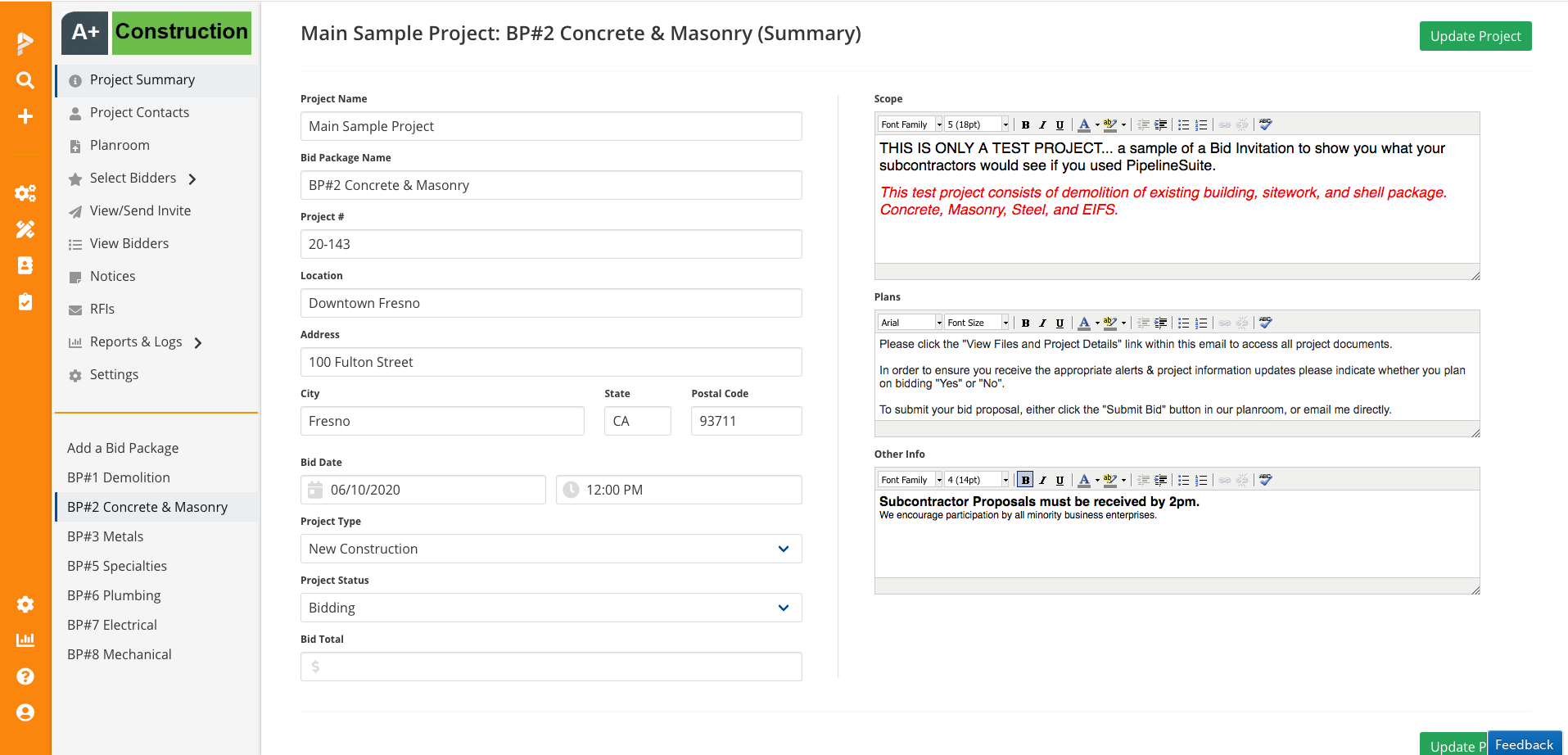 PipelineSuite Bid Management Software - Project Summary with Bid Packages