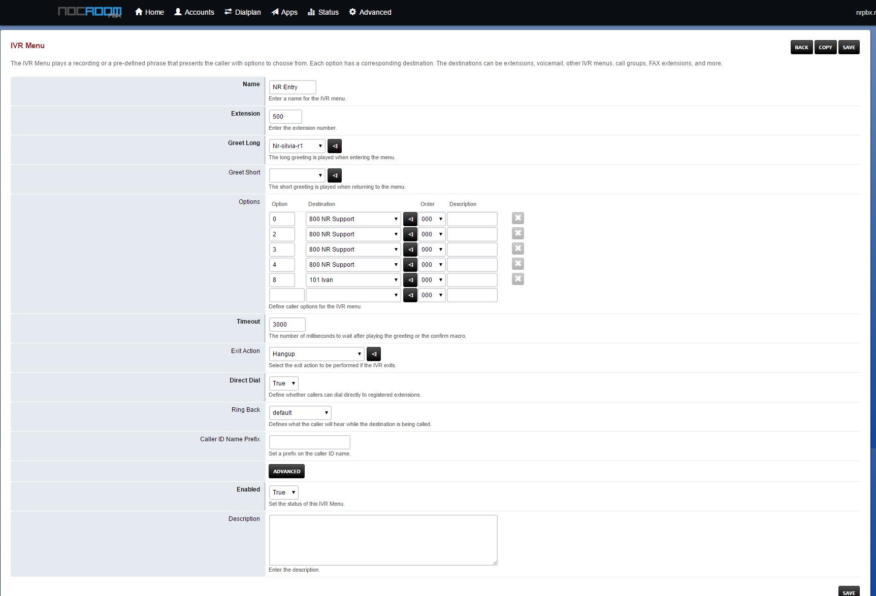 NocRoom Hosted PBX Software - IVR menu