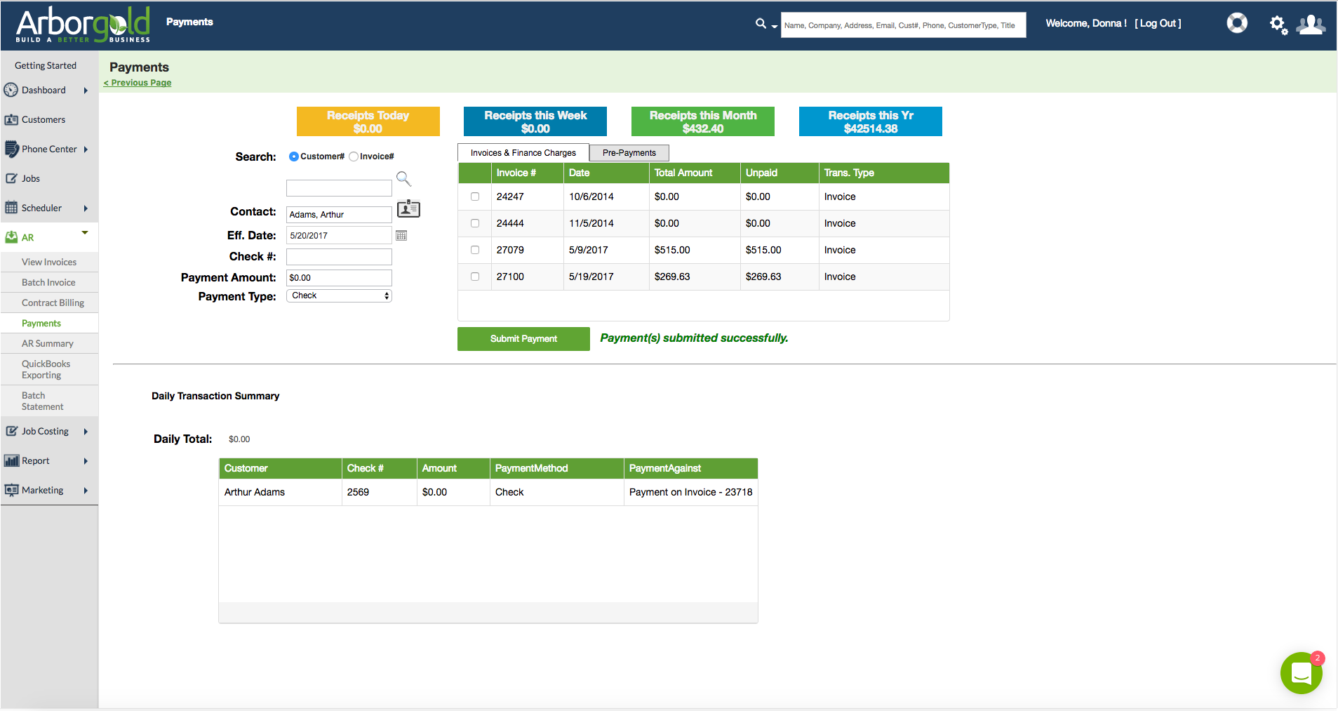 Simplify invoicing, cash receipts, and statements, and sync to QuickBooks with no double entry issues