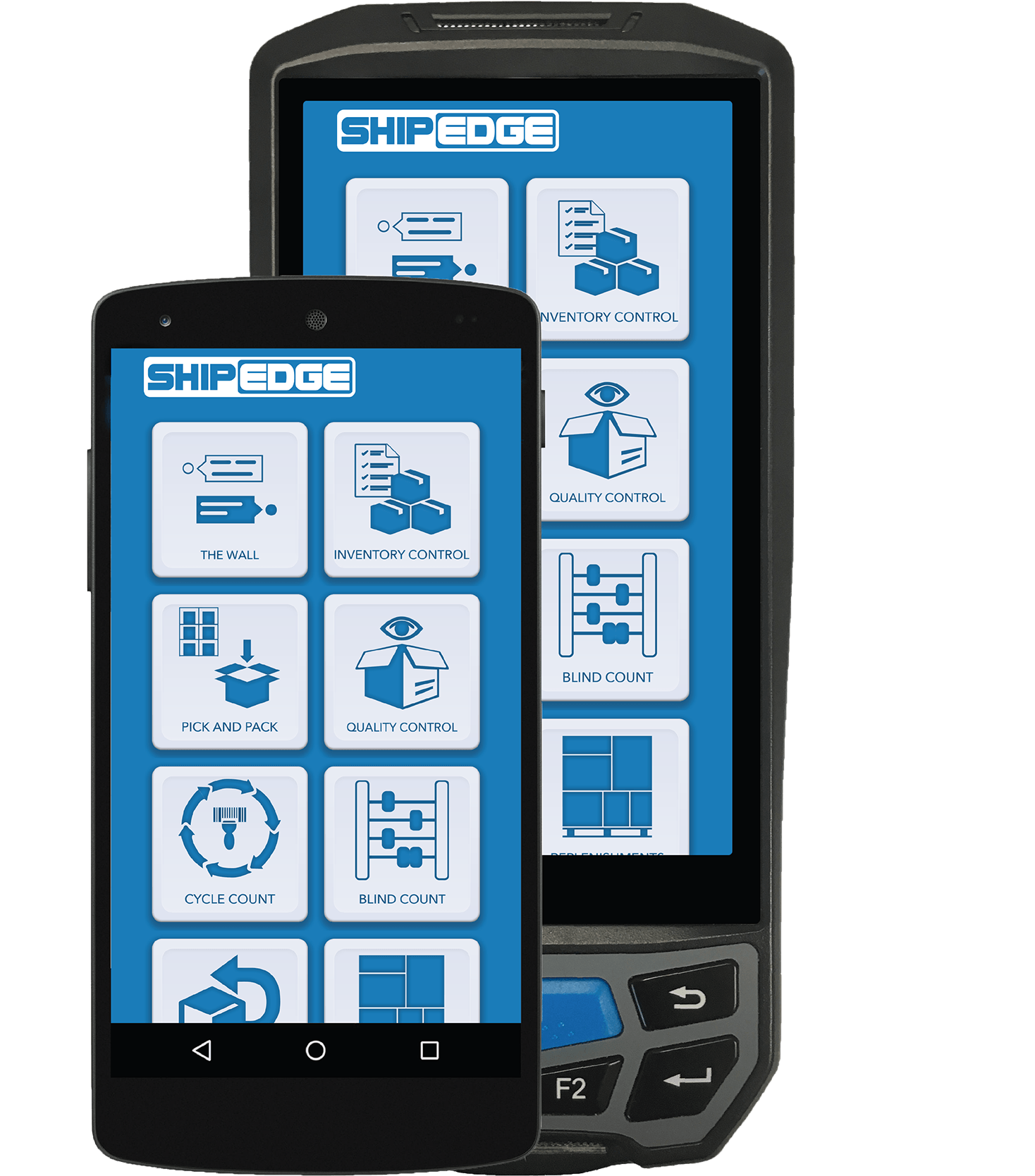 Shipedge Software - Mobile barcode scanner devices shown running Shipedge