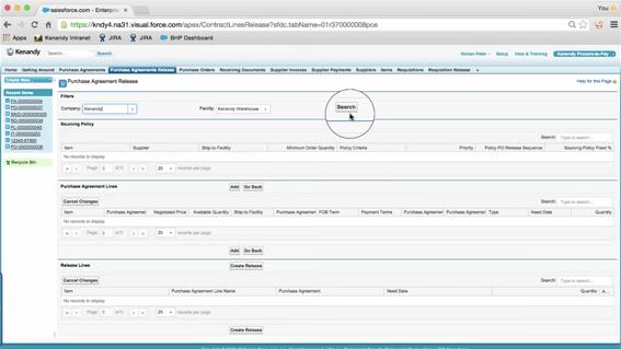 Use Kenandy's search feature to find and create purchase orders