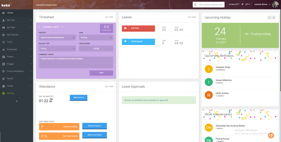 Keka screenshot: Keka Dashboard