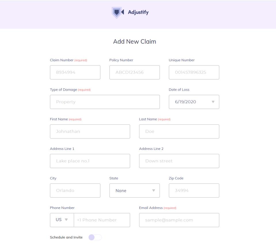 Adjustify add new claim