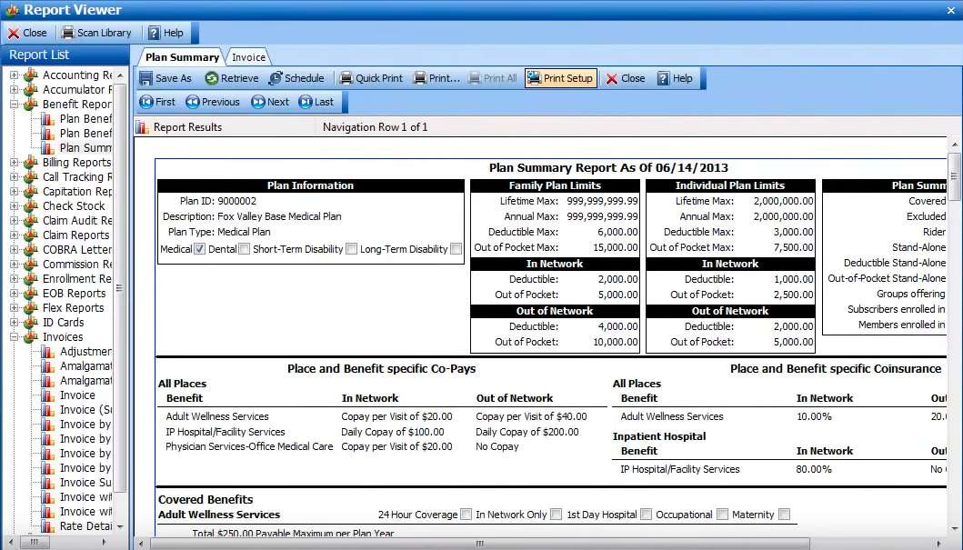 Plan summaries can be created in VBA's report viewer