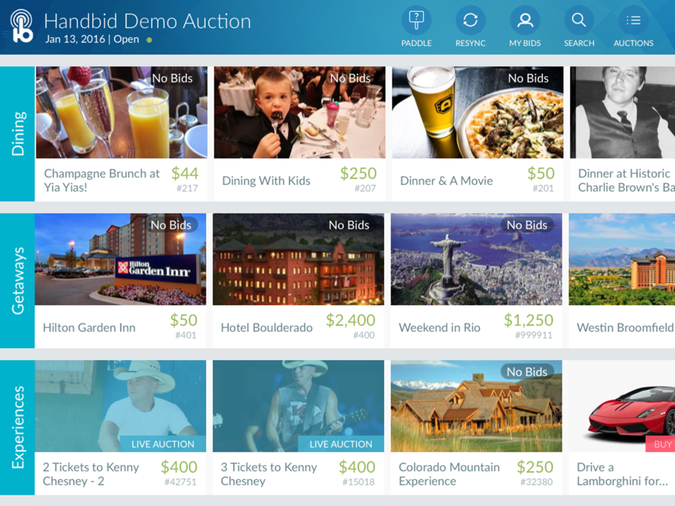 Users can browse live auctions within the Handbid apps