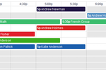 Teachworks screenshot: The calendar schedules lessons for individuals or groups of students, color-coding lessons by teacher, student or location
