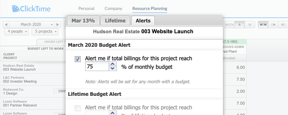 Clicktime Budgeting Tools