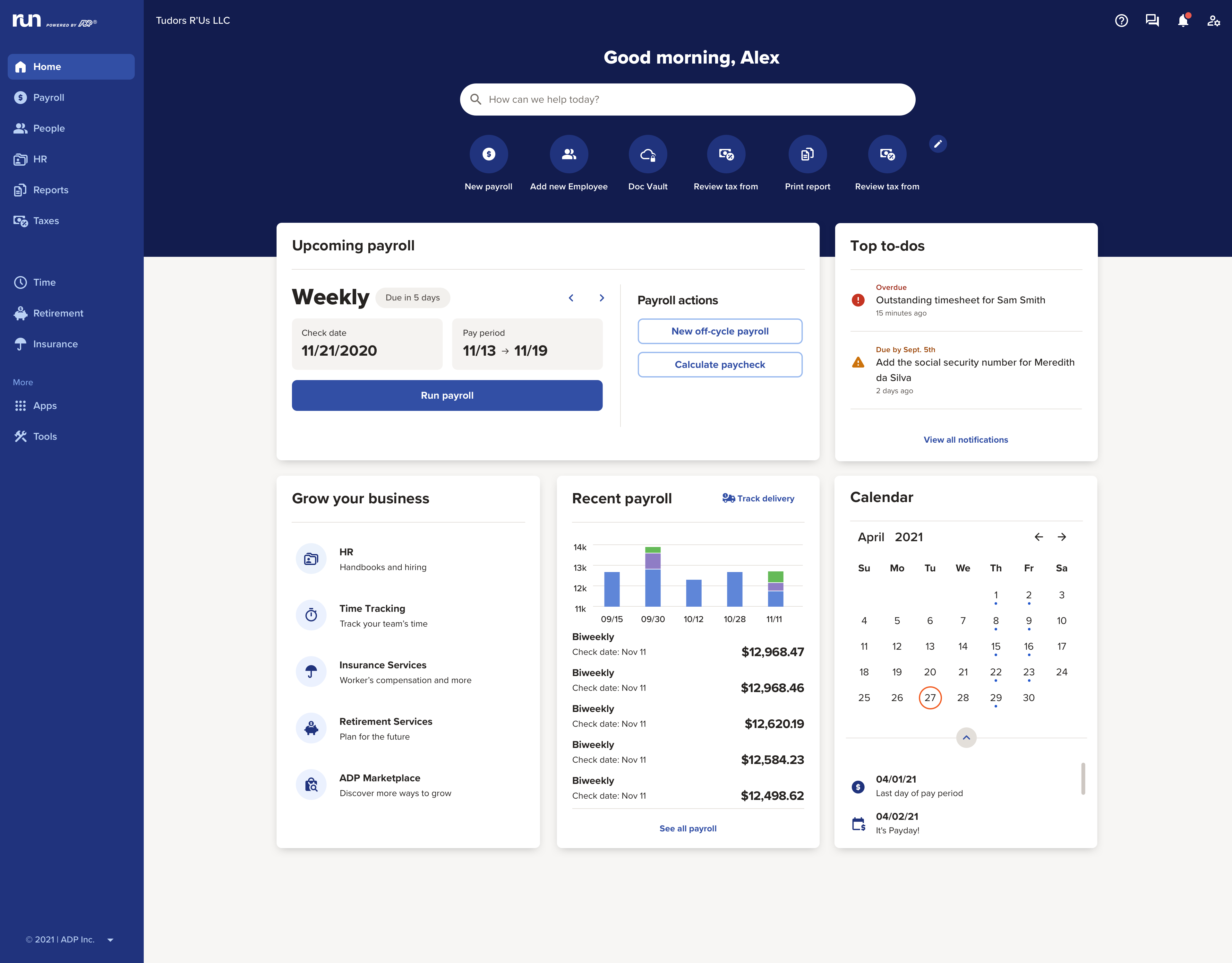 The all new RUN's dashboard offers easy access to your recent payrolls, search bar and upcoming to-dos.