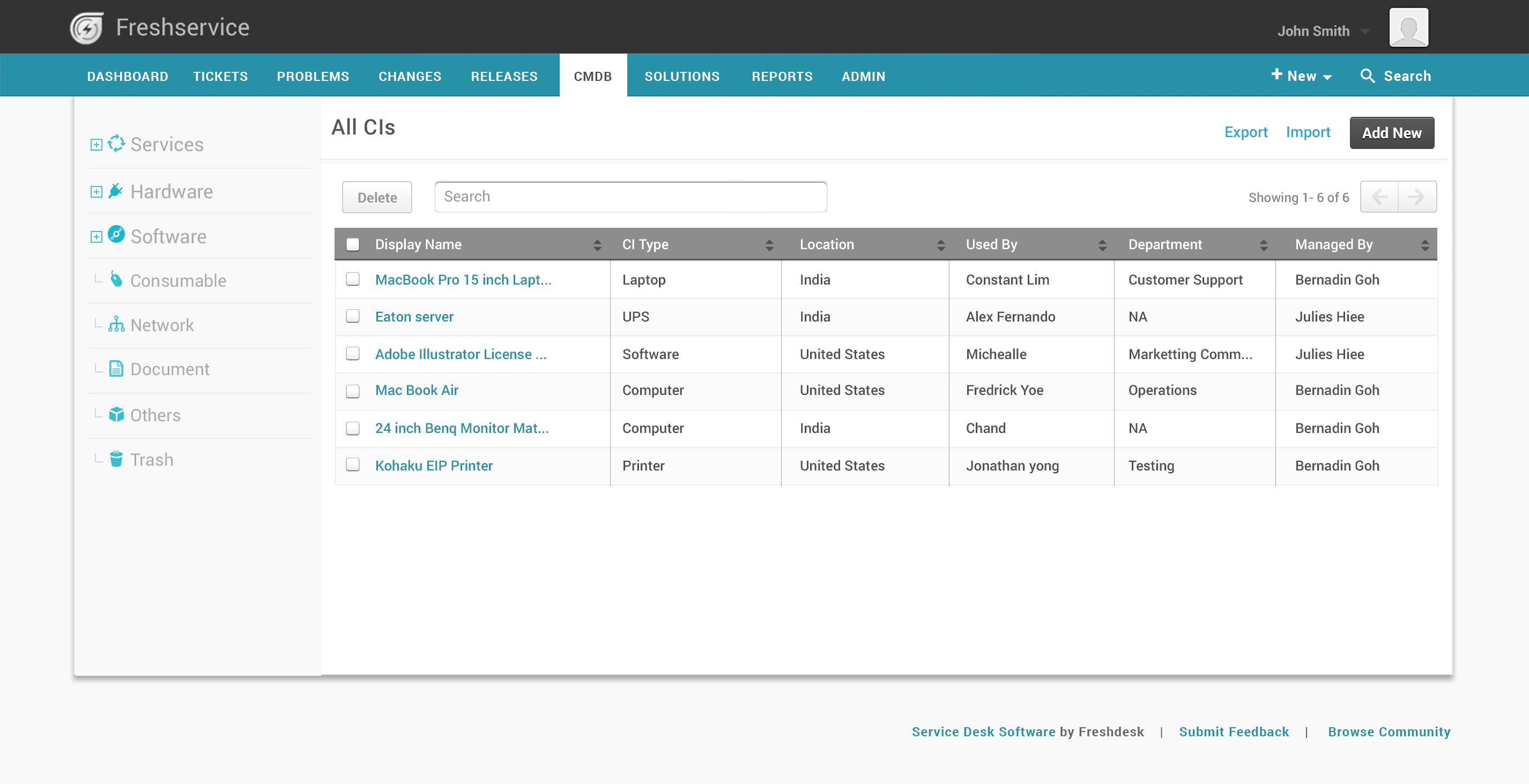 Freshservice Software - Freshservice IT asset management