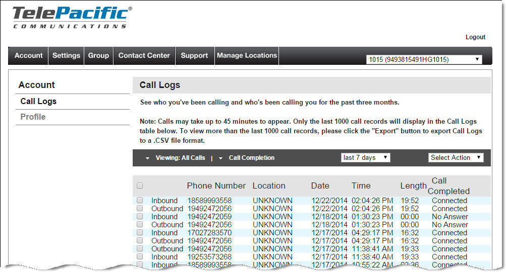 Call logs