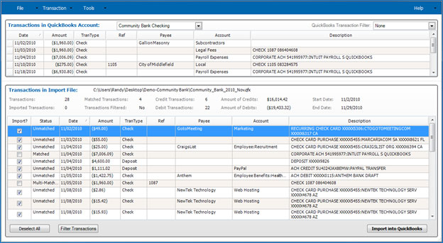 Import Transactions Screen