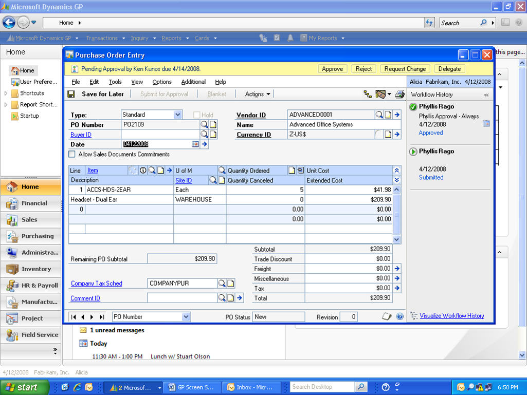 Microsoft Dynamics GP Software - Purchase order entry