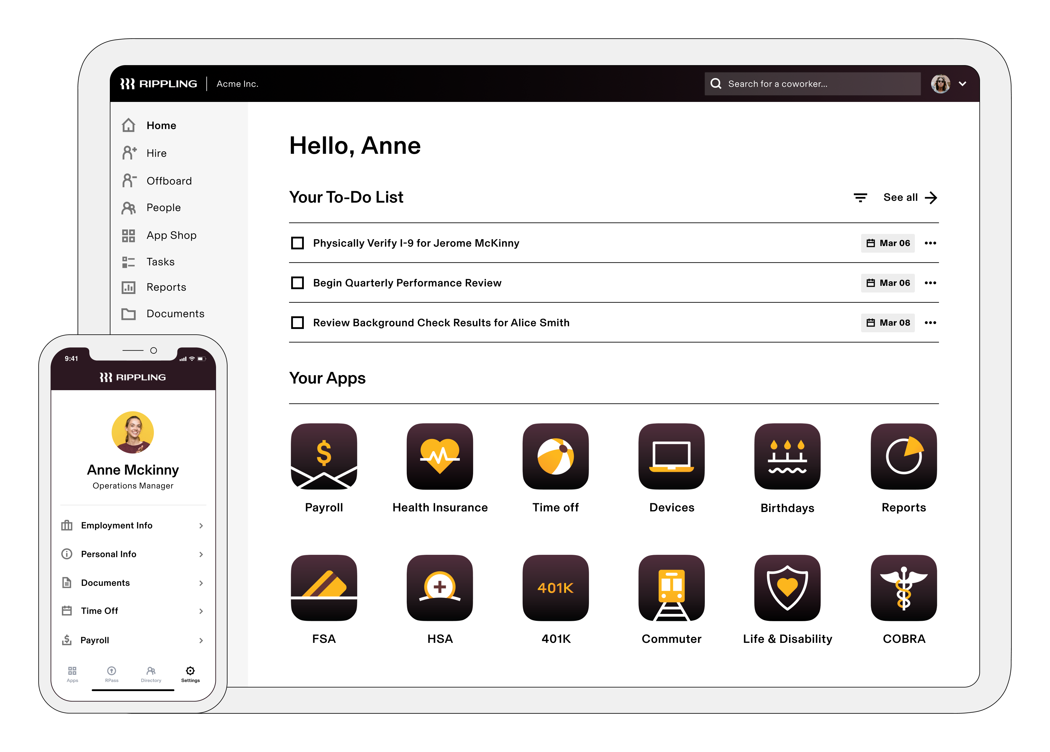 Rippling screenshot: Rippling Dashboard: Your employees home for their payroll, benefits, documents, devices, apps, and more.