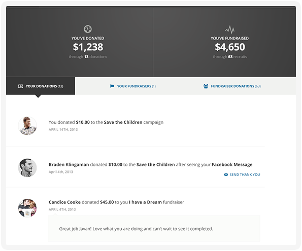Donations, receipts, & peer fundraising pages can be managed by donors from their own 'donor dashboard'