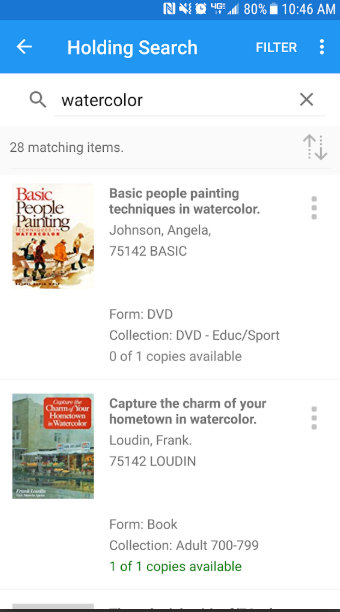 Patrons can search the library's full catalog with the inventory search feature