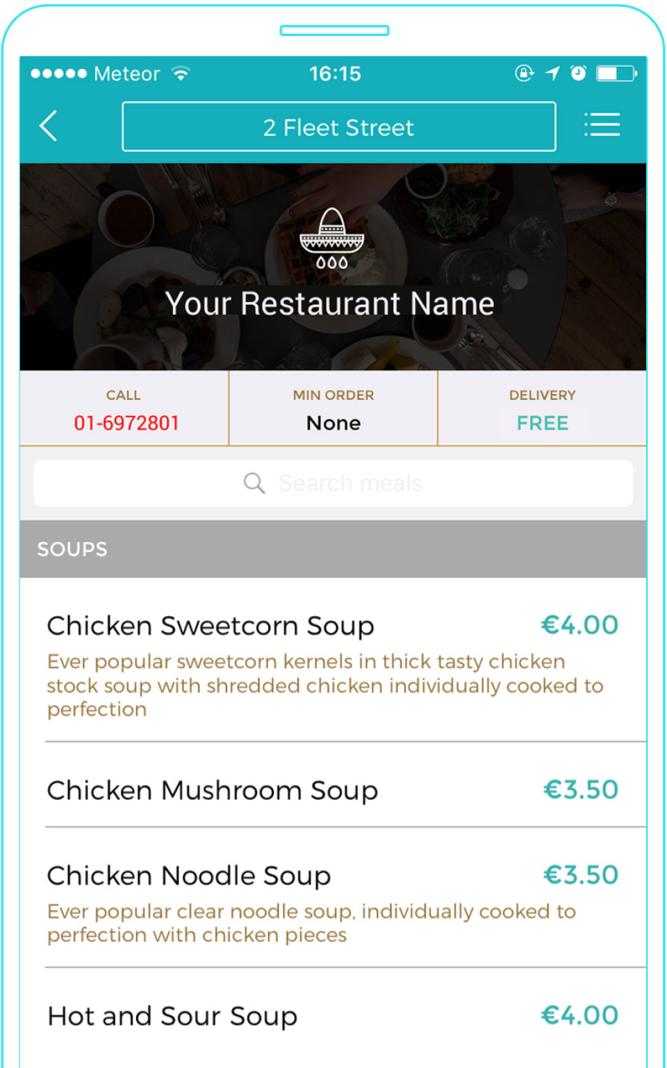 Customers can search dishes and place orders