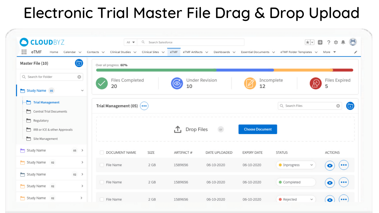 Electronic trial master file Drag and Drop Upload