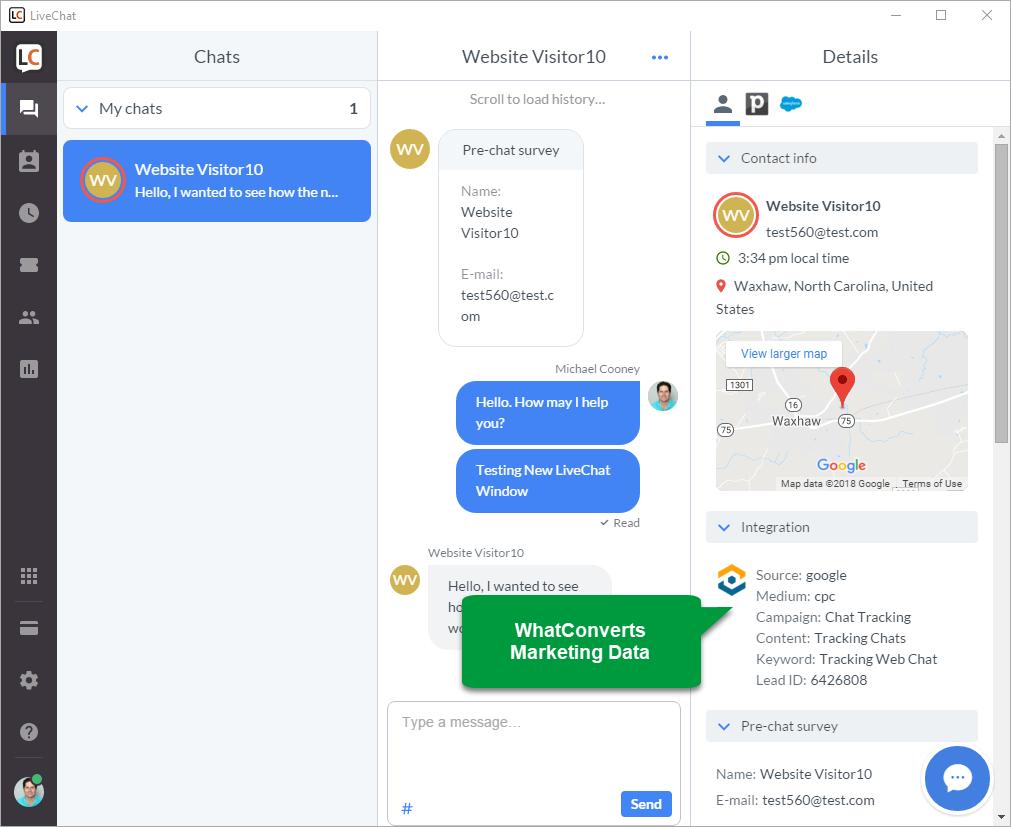 WhatConverts live chat integration screenshot