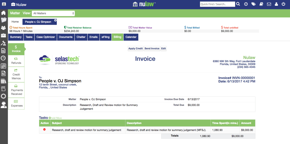 Invoices can be generated and sent to clients