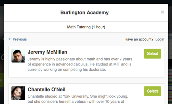 A booking plugin enables students to signup and book in for lessons with available teachers directly from the website