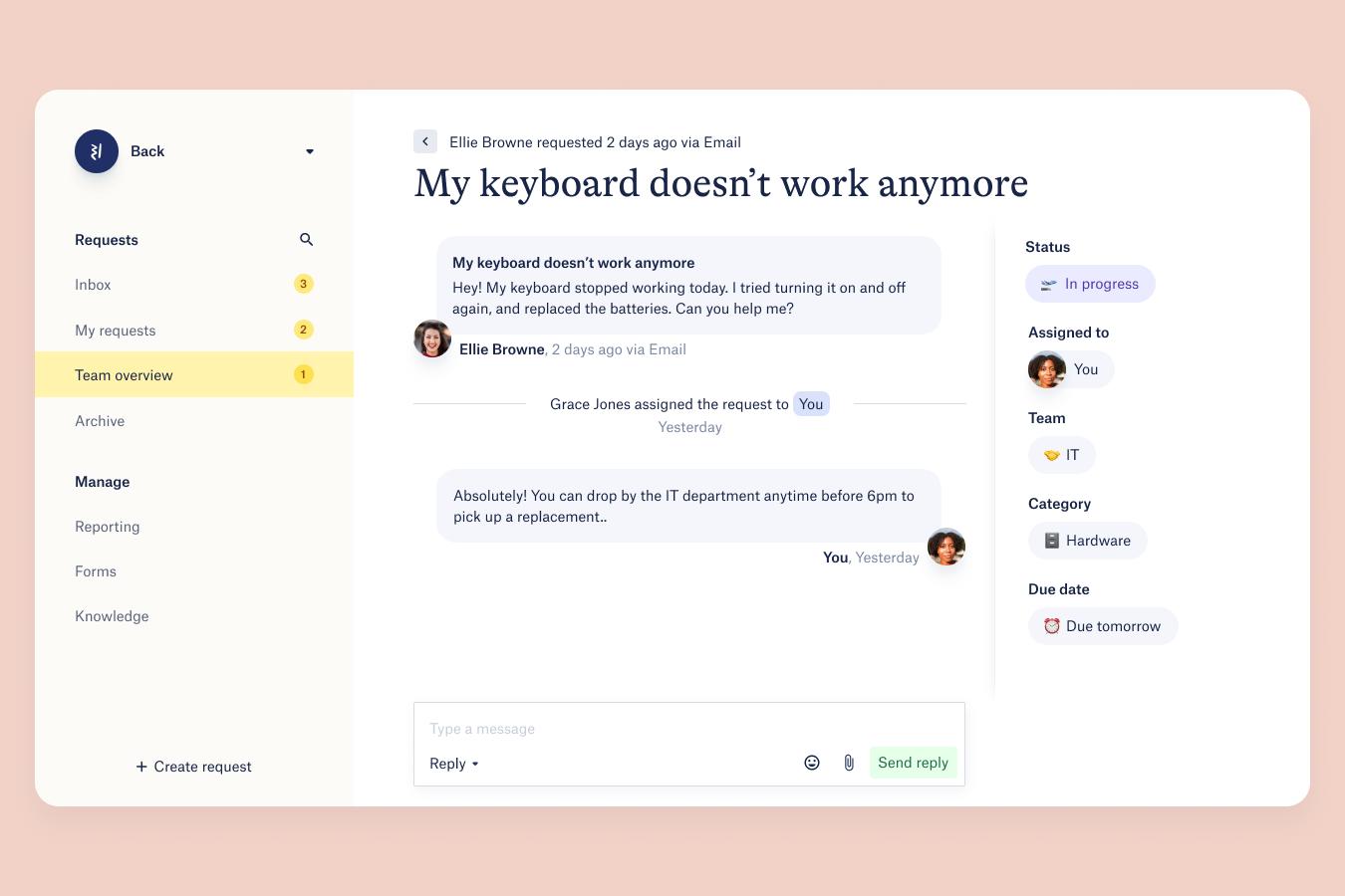Back communication screenshot