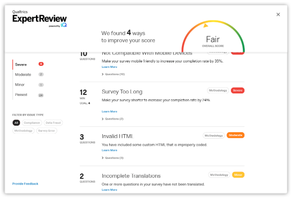 Qualtrics CoreXM ExpertReview survey quality score