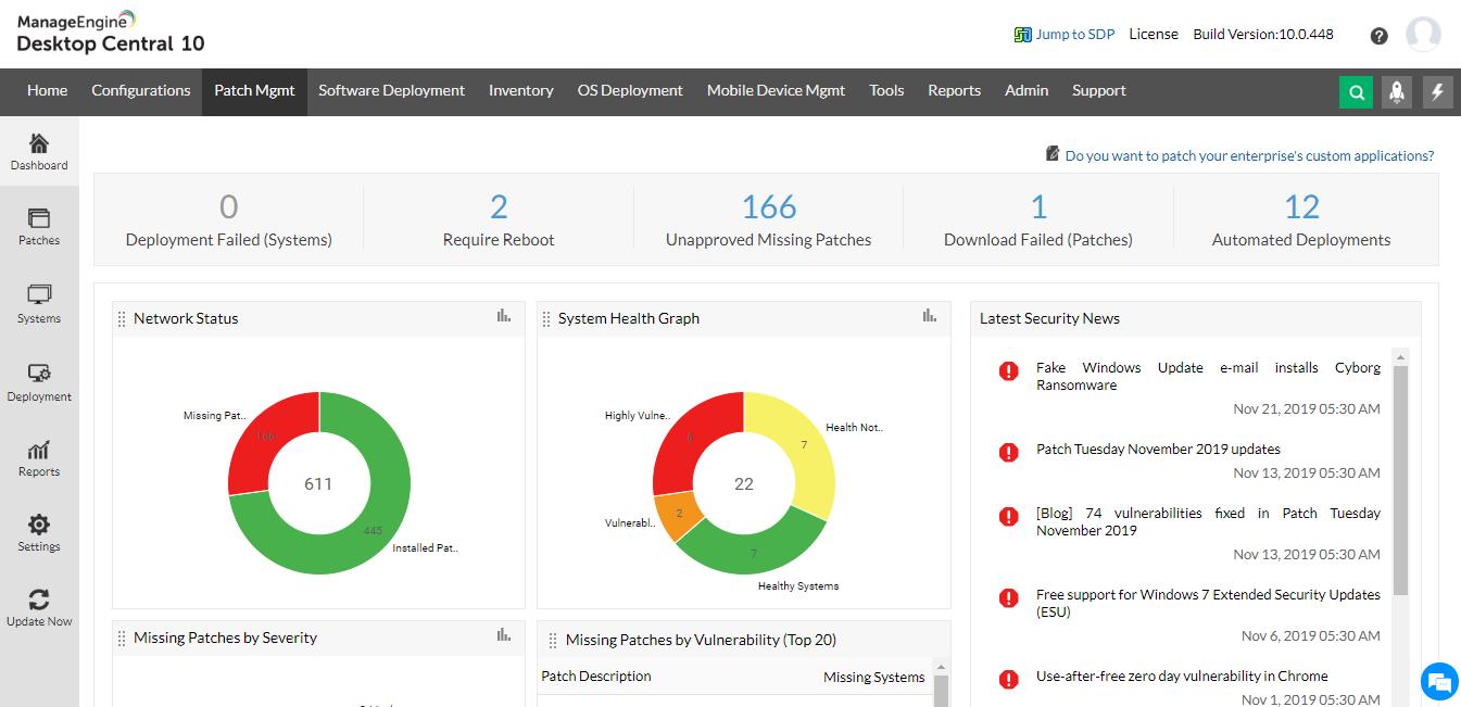 ManageEngine Desktop Central patch management