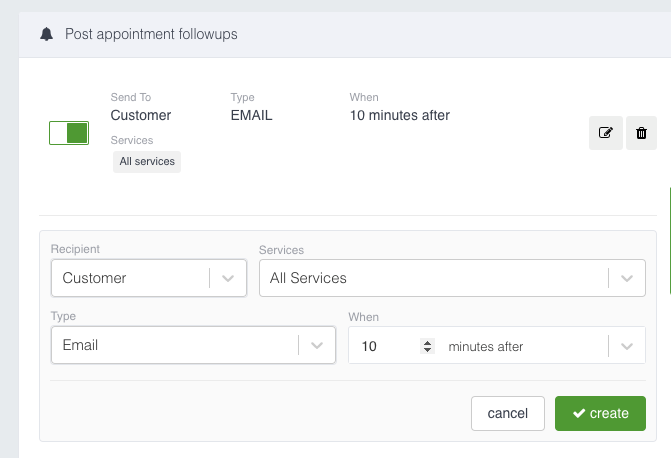 Cogsworth Software - Post appointment follow up email and SMS settings