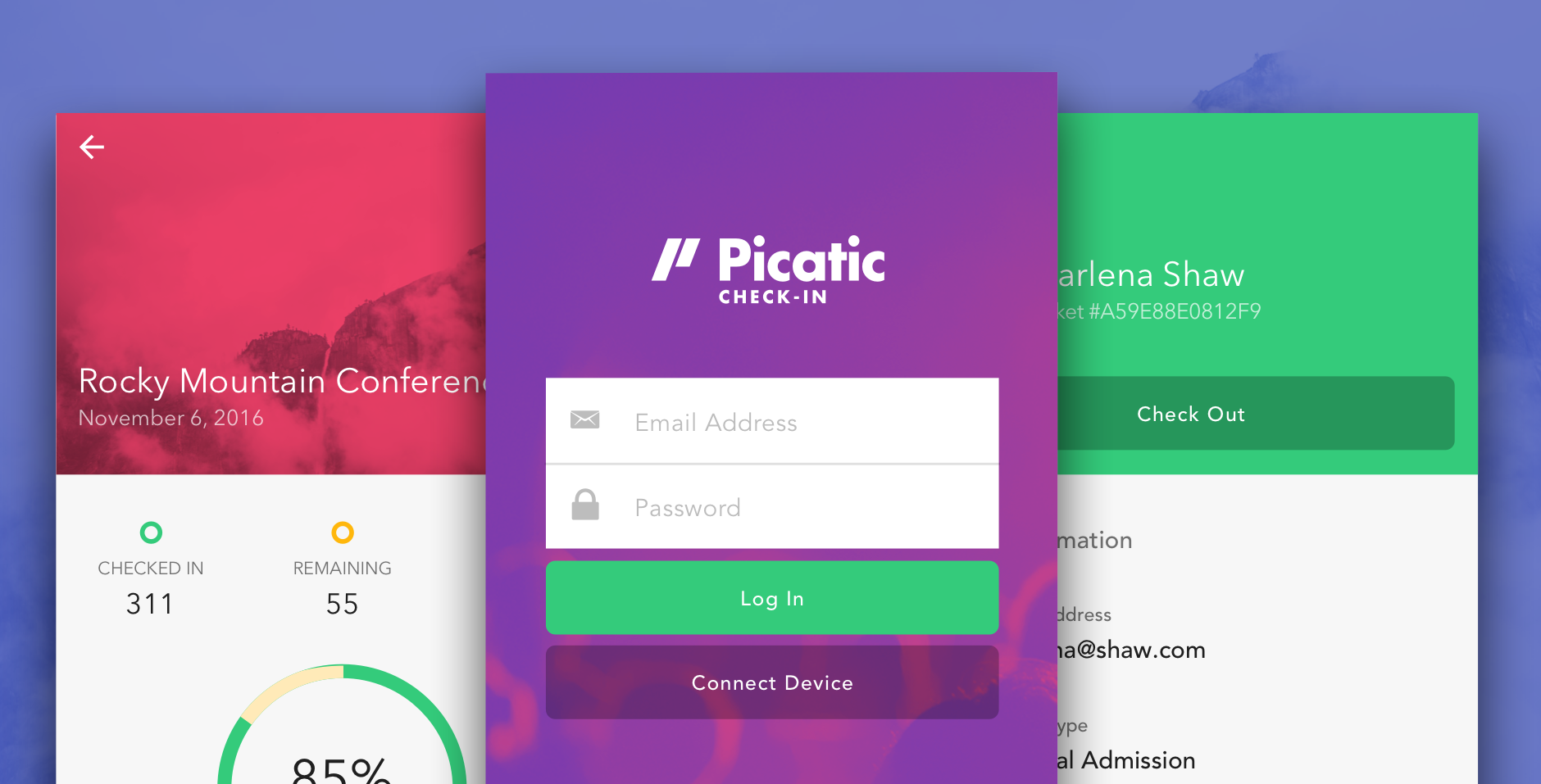 Picatic Check-In for iOS and Android. Scan tickets and check-in your guests at the door.