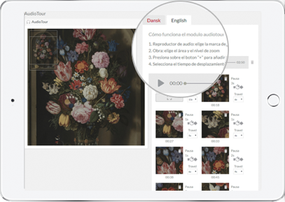 Audio tours can be added to galleries in order to provide visitors with an interactive experience via any mobile device