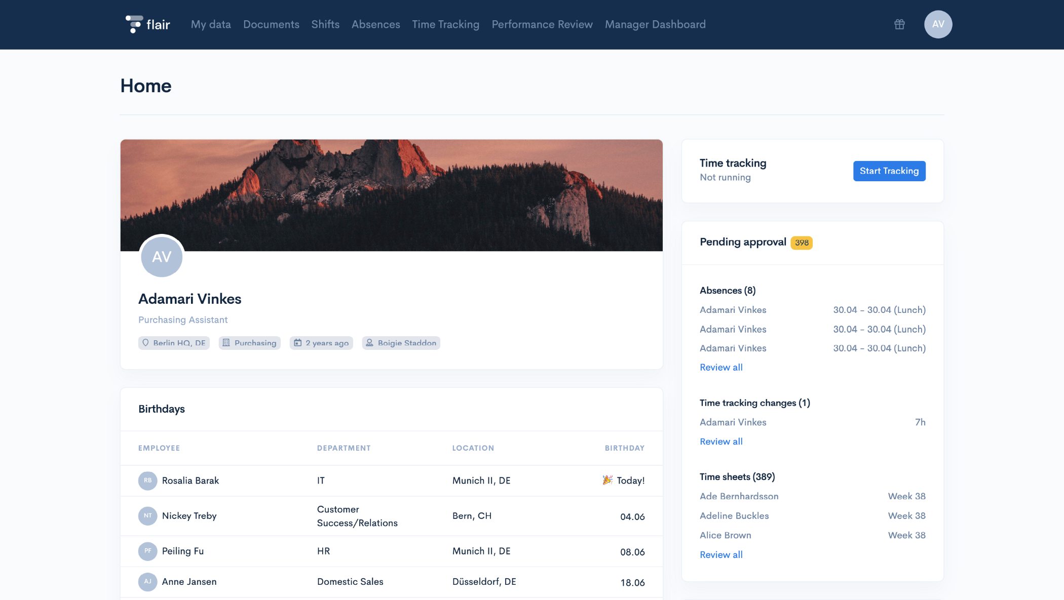 With a user-friendly interface, flair's employee HUB allows anyone in your team to access the data that has been managed by HR through Salesforce.