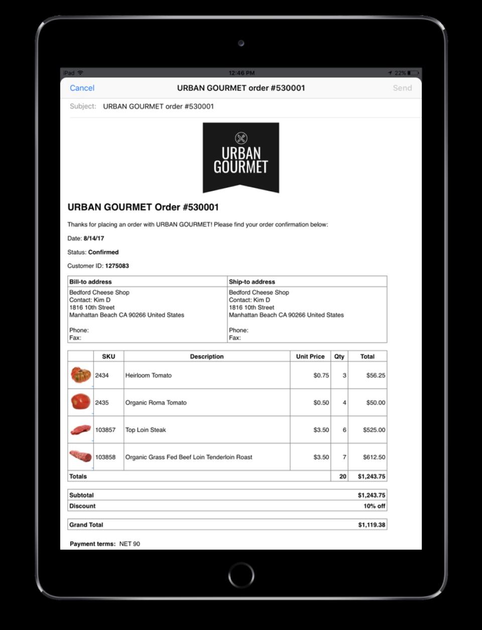 Send beautiful B2B orders