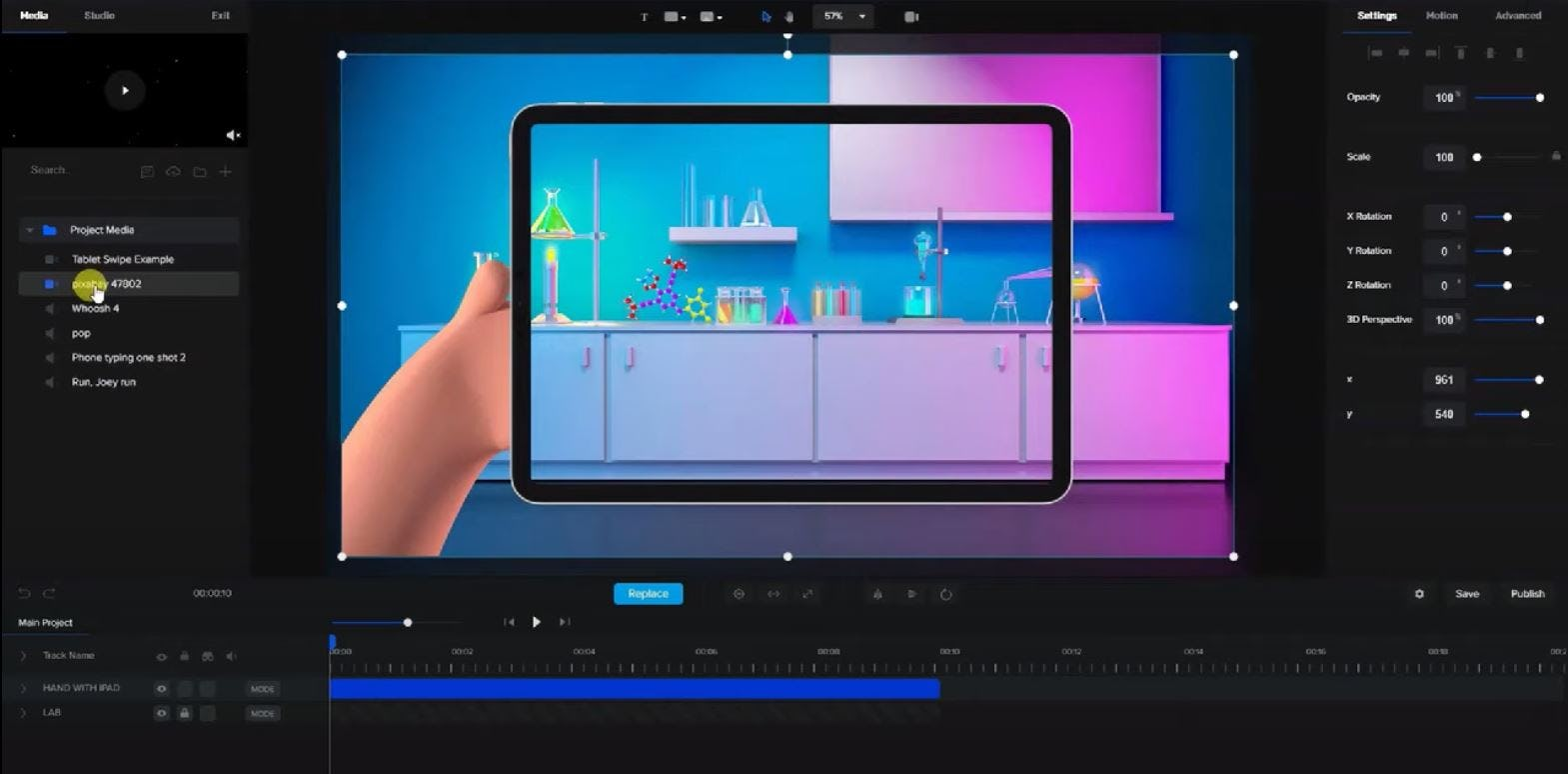 CreateStudio tablet swipe