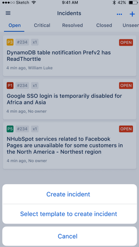 OpsGenie screenshot: Respond to alerts and incidents from the mobile app