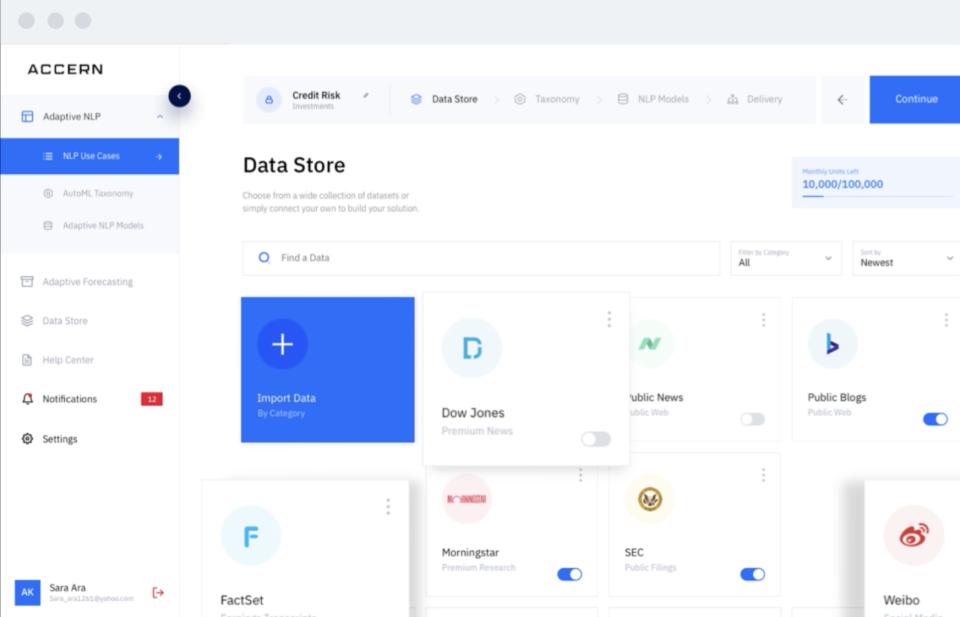 Accern screenshot: Accern data store selection