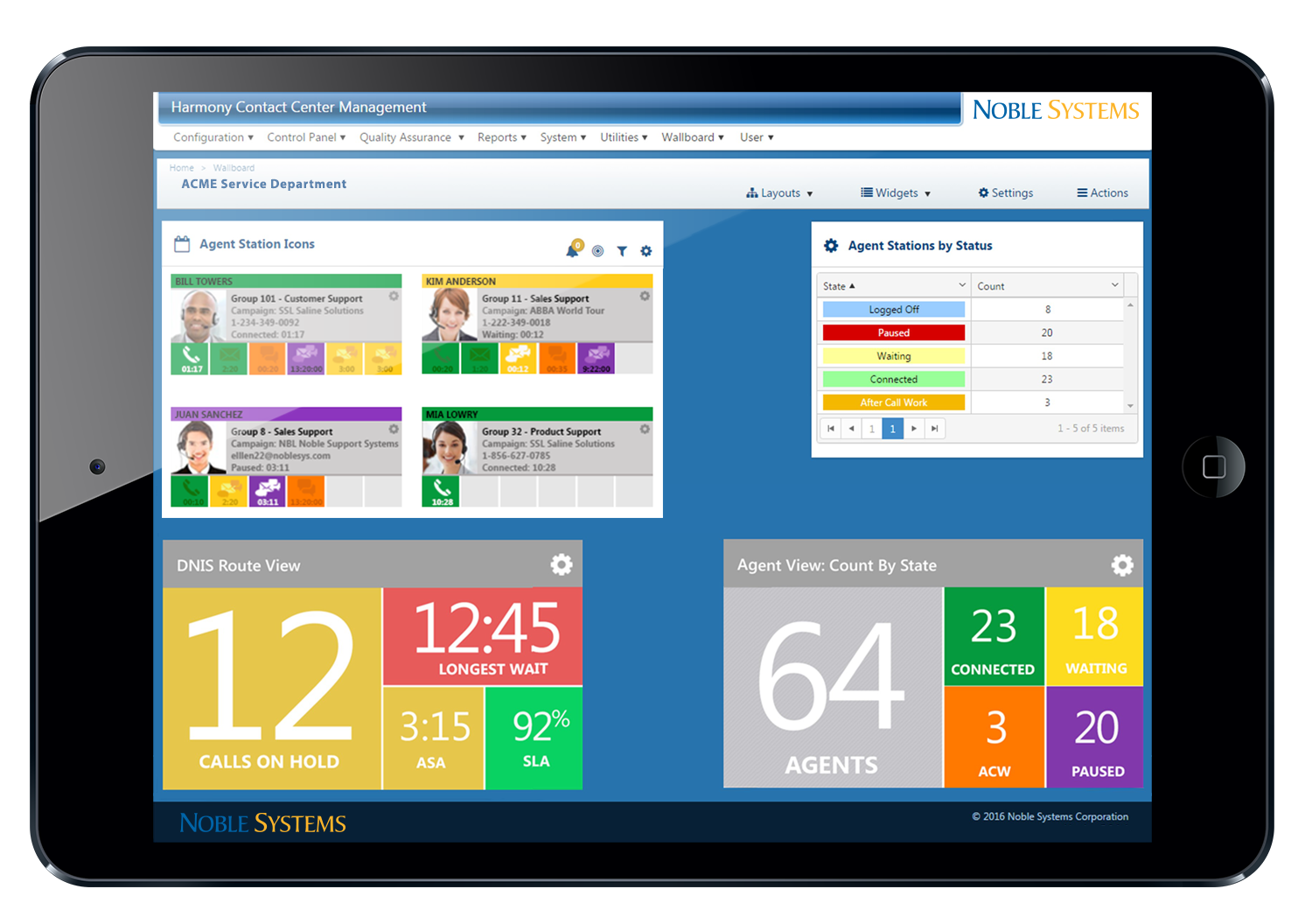 Noble Suite screenshot: See real-time contact center data from any internet-enabled device