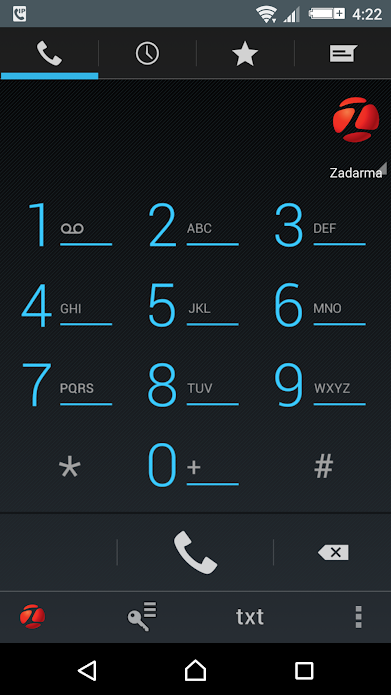 Zadarma SIP companion mobile app showing the phone dialler numerical keypad screen running on an Android device