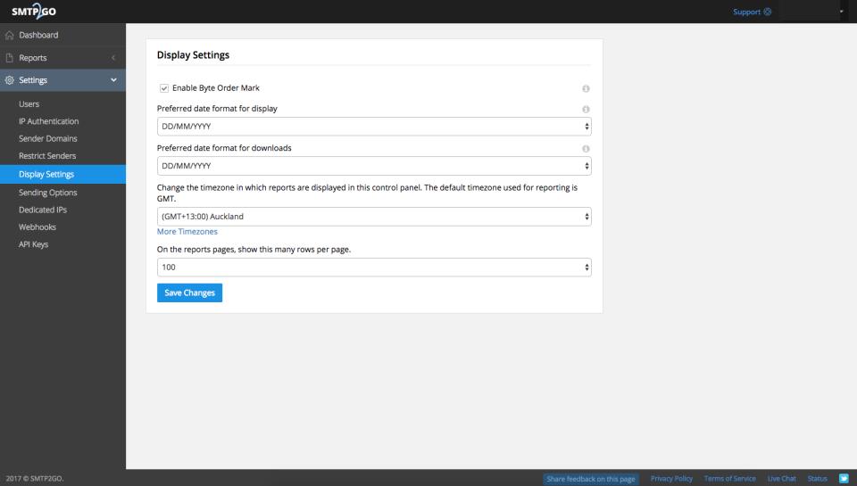 SMTP2GO: Display Settings