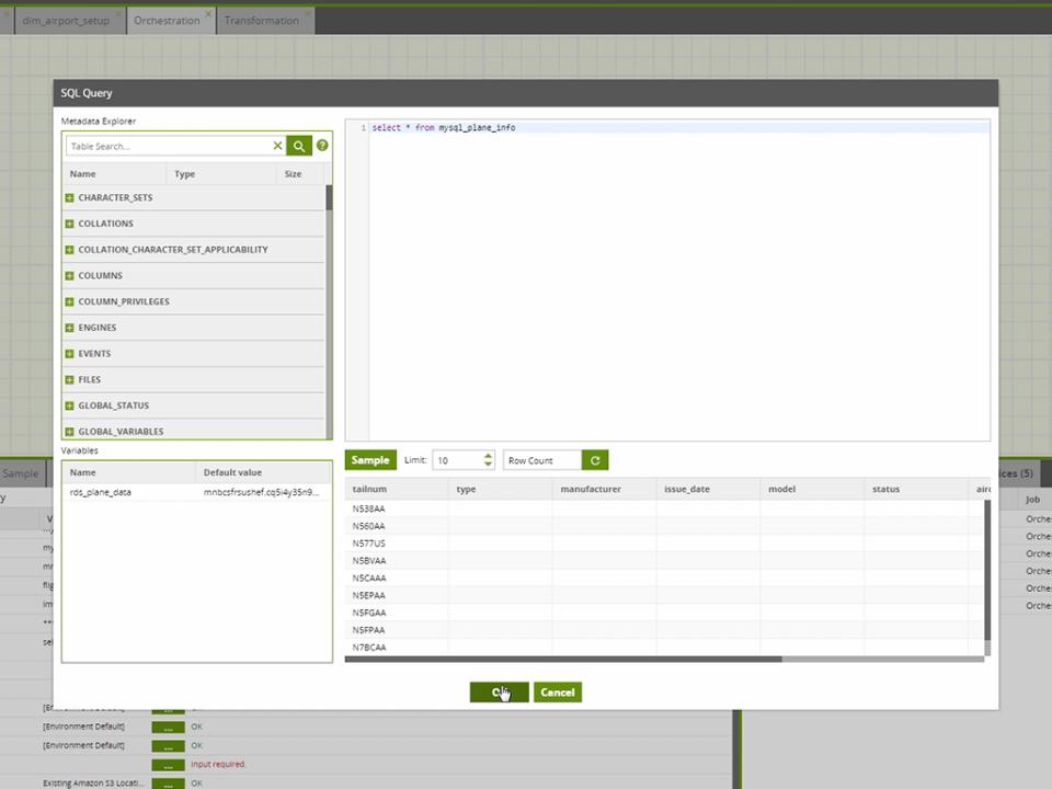 Matillion SQL editor screenshot