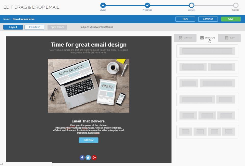 iPost drag & drop email design