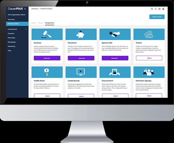 CausePilot website components