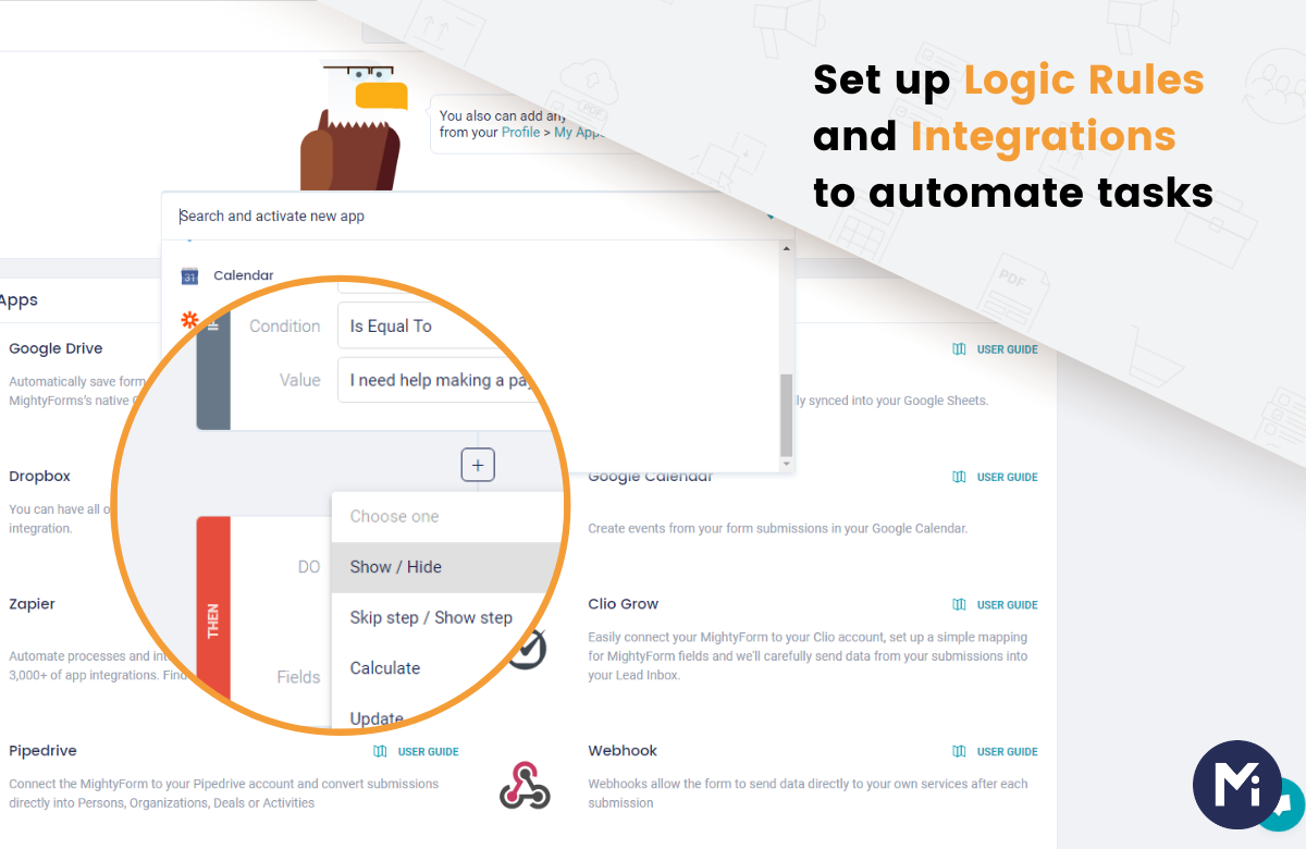 Create online forms with intuitive Logic Rules